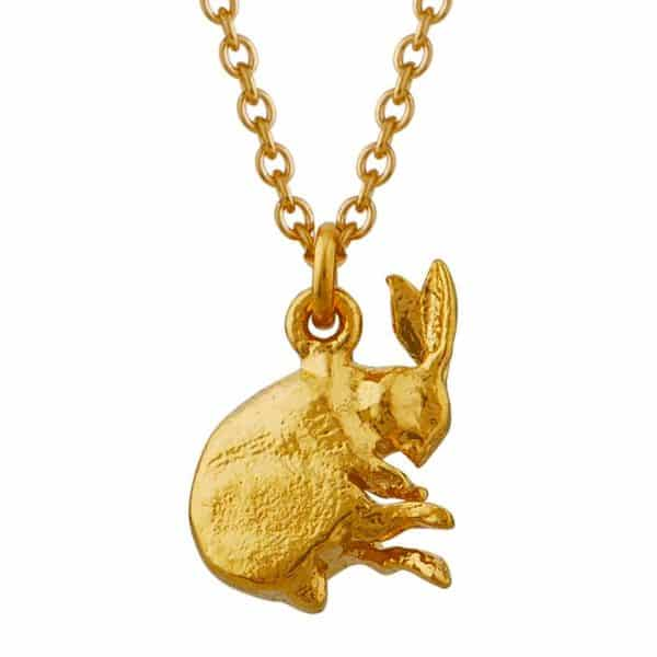 Alex Monroe Gold plated sleeping hare necklace