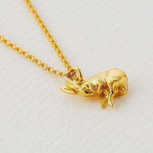 Gold sleeping hare necklace silverado jewellery