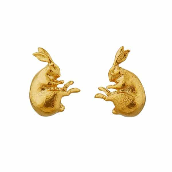 Gold plated hare stud earrings by Alex Monroe