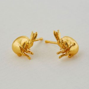 gold hare earrings at silverado jewellery