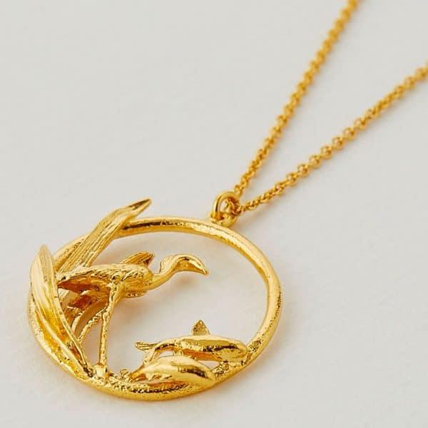 Gold heron and fish circle necklace at Silverado Jewellery