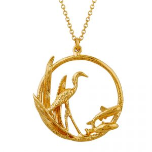 Alex Monroe Gold Heron and Fish necklace