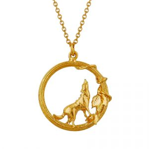 Gold plated howling wolf necklace silverado jewellery