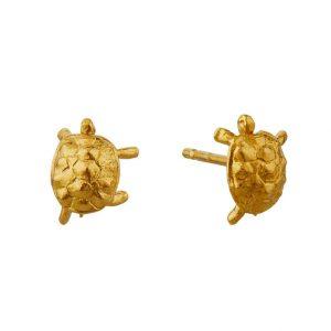 Gold tortoise stud earrings