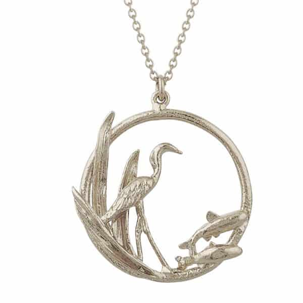 Sterling silver heron and fish circle necklace