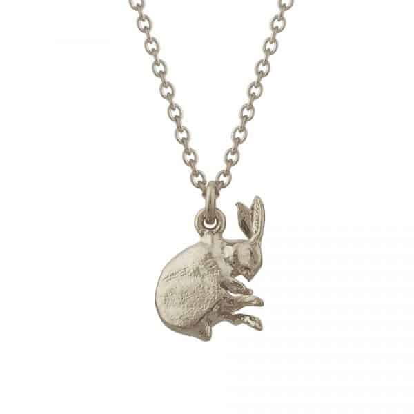 back of the silver sleeping hare necklace by monroe