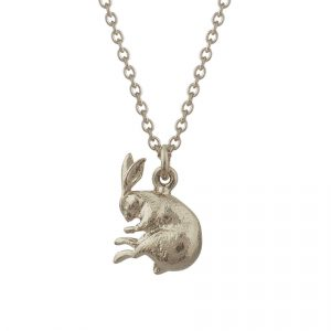 Sterling silver sleeping hare necklace from the fables collection