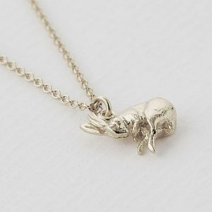 Silver sleeping hare necklace by Alex Monroe