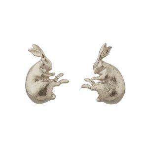 Sterling silver hare stud earrings by Alex Monroe