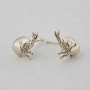silver hare earrings at silverado jewellery