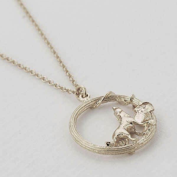 Silver wolf necklace by alex monroe at silverado jewellery