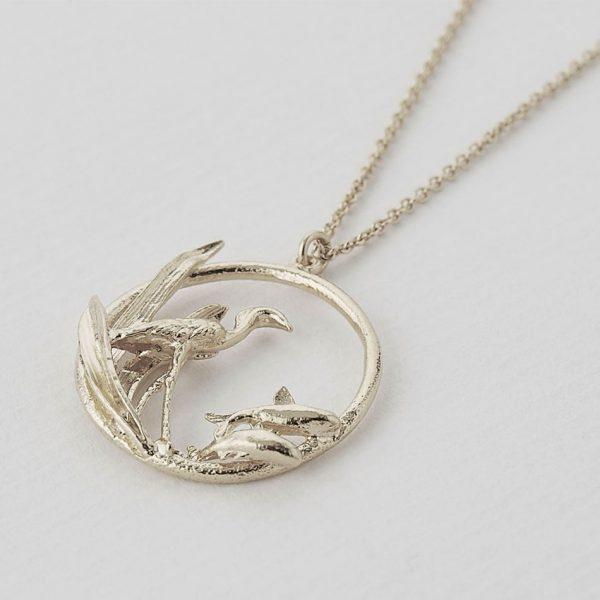 Alex Monroe silver heron and fish loop necklace at silverado jewellery