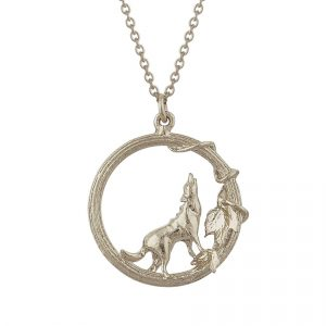 Sterling silver wolf necklace by Alex Monroe