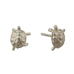silver tortoise stud earrings by Alex monroe