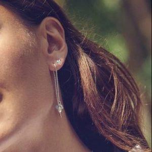 Lady wearing Sea chain earrings from Pernille Corydon