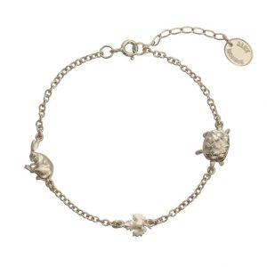 Silver Alex Monroe Tortoise and Hare bracelet