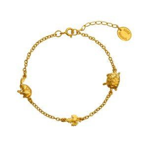Alex Monroe Gold Tortoise and Hare Chain bracelet