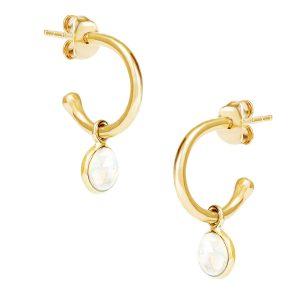 Luceir October Moonstone Gold hoop earrings
