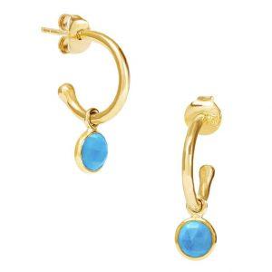 Luceir December Birthstone turquoise hoop earrings