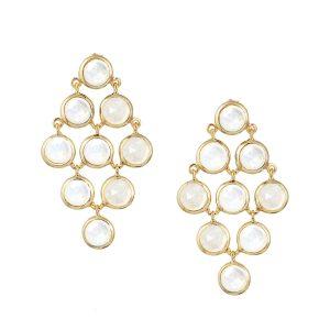 Luceir gold moonstone cascading earrings