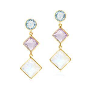 Luceir multi gemstone drop earrings