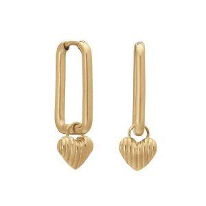 Rachel Jackson Deco Heart oval Link Gold Hoops