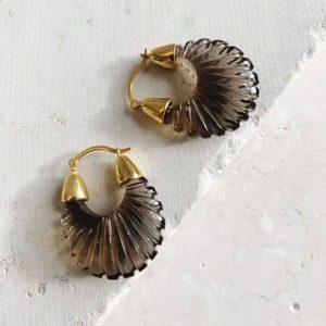 shyla smoky glass hoop earring silverado jewellery